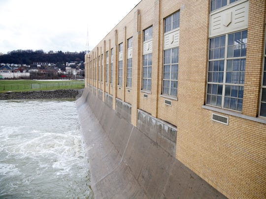 The Ohio River side of the Mill Creek dam pumping station