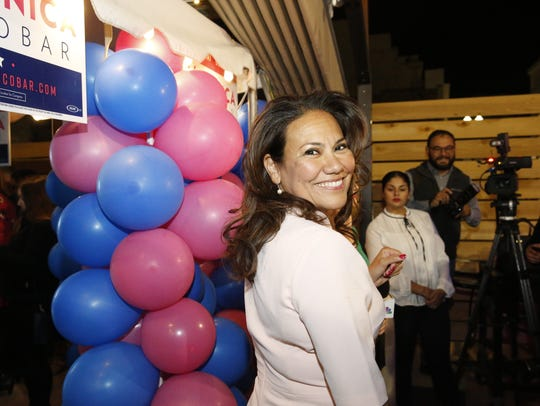 Former County Judge Veronica Escobar smiles after seeing the March 6 primary early voting results.