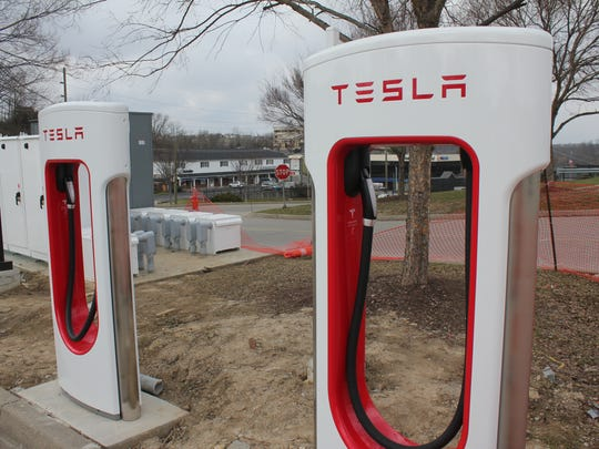 The Tesla superchargers in Green Township.