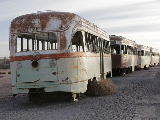 El Paso streetcars were long held on desert land on airport property after they stopped running in the 1970s.