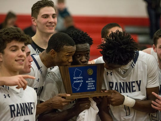 Ranney celebrates the win. Ranney vs Trenton Catholic Academy in the NJSIAA South Non-Public A final at Jackson Liberty High School.Jackson, NJTuesday, March 6, 2018@dhoodhood