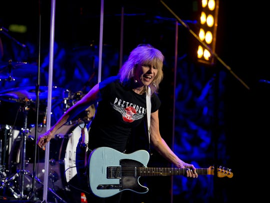 Chrissie Hynde performs with English-American rock band the Pretenders in concert at Palacio de los Deportes in Mexico City. The Pretenders were opening for Phil Collins.