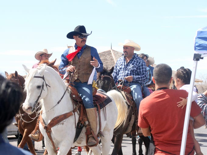 Riders from the Cabalgata Binacional Villista arrive