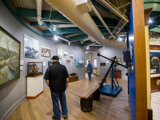 People walk around the newly renovated Texas Maritime