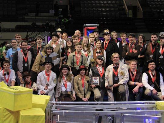 Two Rivers High School's STEMpunk robotics team (pictured) earned the Engineering Inspiration Award during regional competition in Duluth, Minnesota.