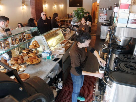 The busy counter at The Roaster Cafe on Mamaroneck Avenue in Mamaroneck. Photographed March 14, 2018.