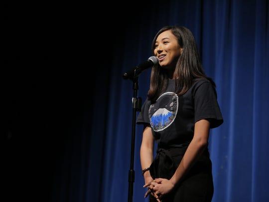 Salinas High School senior Alyssa Powell giving her speech at Friday's competition.