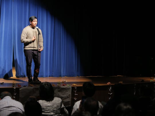 North Salinas High senior Neo Bautista giving his speech at Friday's competition.
