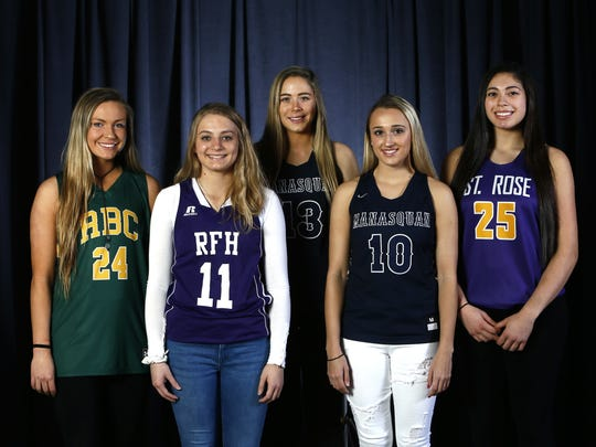 All-Shore girls hoops first team. Rose Caverly, Red Bank Catholic, Tori Hyduke, Rumson-Fair Haven, Faith Masonius, Manasquan, Dara Mabrey, Manasquan and Lucy Thomas, Saint Rose. March 20, 2018. Neptune, NJ.