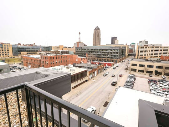 Downtown Des Moines has seen a boom in new housing over the past decade. This is the view from the top floor patio at the Flux apartments, which are set to open this spring.