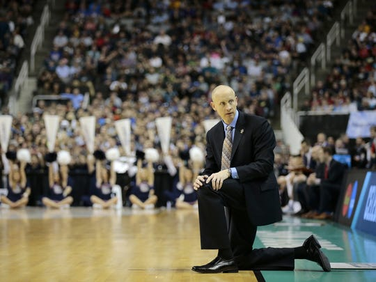Xavier basketball coach Chris Mack during a 2017 NCAA Tournament game against Gonzaga.