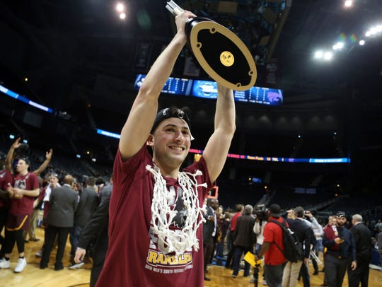 Loyola Ramblers guard Ben Richardson celebrates.