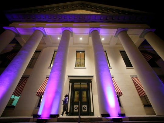 The Historic Old Capitol building will be lit up in the Alzheimer's Association signature color, purple on Tuesday for the Rally in Tally.