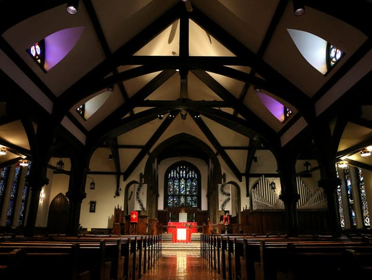 The Church of the Advent in Walnut Hills features stained
