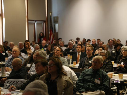 A crowd filled the multipurpose room at the FDR Library's Wallace Center for Scenic Hudson's Solar Smart Hudson Valley symposium in Hyde Park on March 27, 2018.