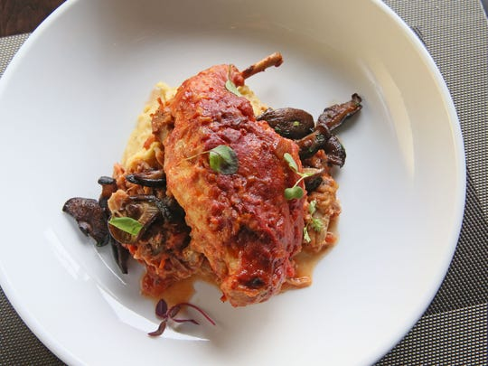 The rabbit cacciatore main dish sets a leg over more