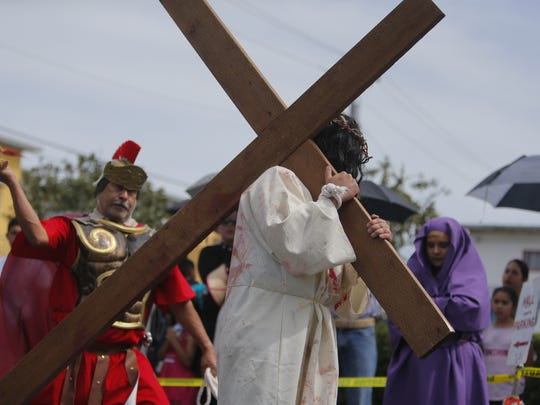Hundreds gathered at Cristo Rey Church in Salinas Friday afternoon to watch a live reenactment of the Stations of the Cross.