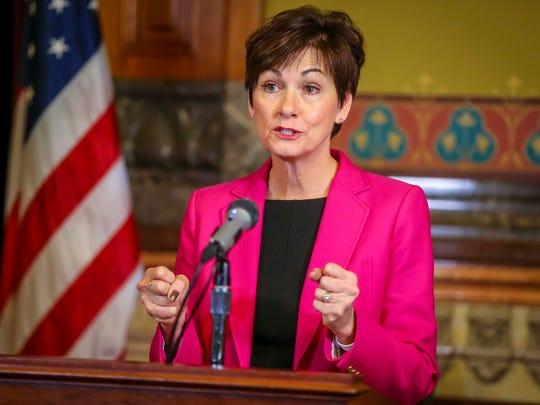 Gov. Kim Reynolds speaks at the Iowa Statehouse on April 2, 2018.