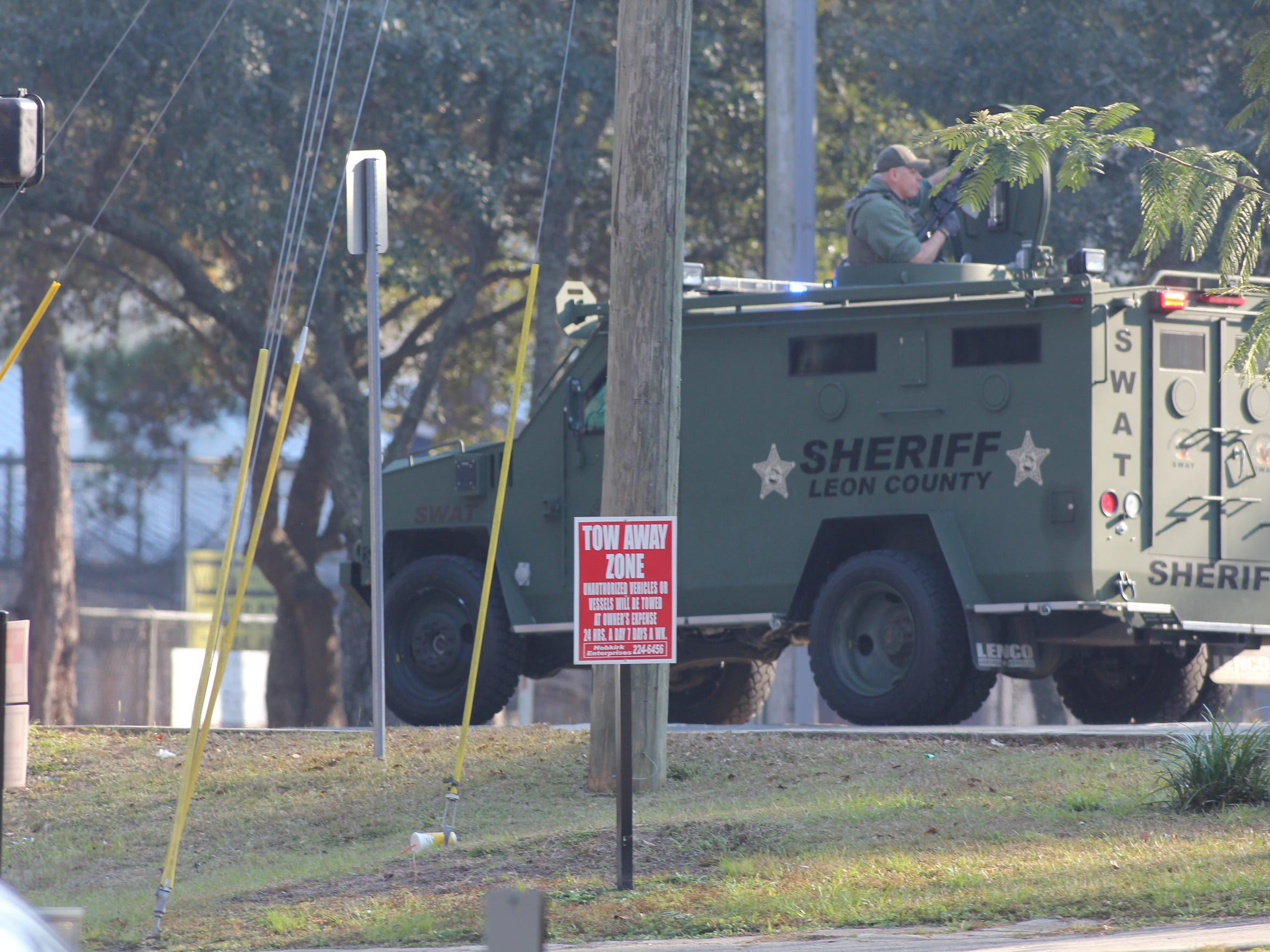 An armored truck with the Leon County Sheriff's Office