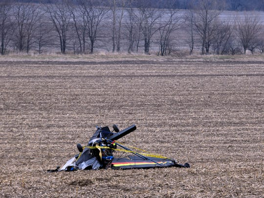 A small plane crashed into a field around 4 p.m. on