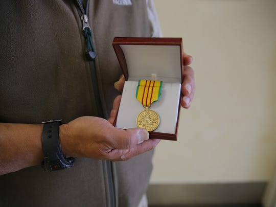 Johnnie Johnson was awarded the Vietnam Service Medal Wednesday by Congressman Jimmy Panetta.