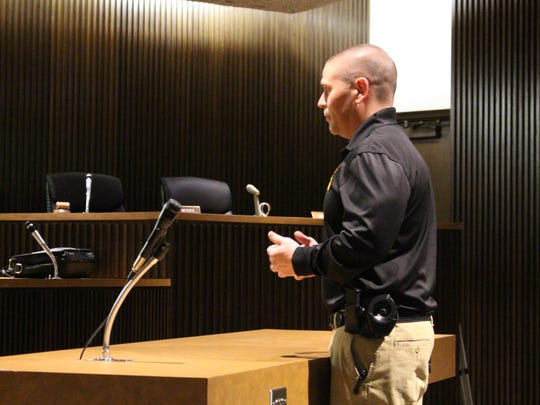 Ontario Police Chief Tommy Hill speaks during a public hearing about the Mansfield Police Department on Monday, April 9, 2018. MPD is applying for reaccreditation through the Commission on Accreditation for Law Enforcement Agencies, or CALEA.