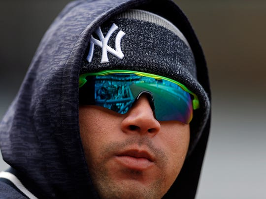 New York Yankees catcher Gary Sanchez (24) looks on