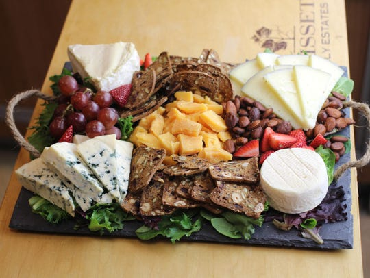 The featured April cheese platter at Gary's Wine &