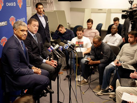 New York Knicks' president Steve Mills, left, and general