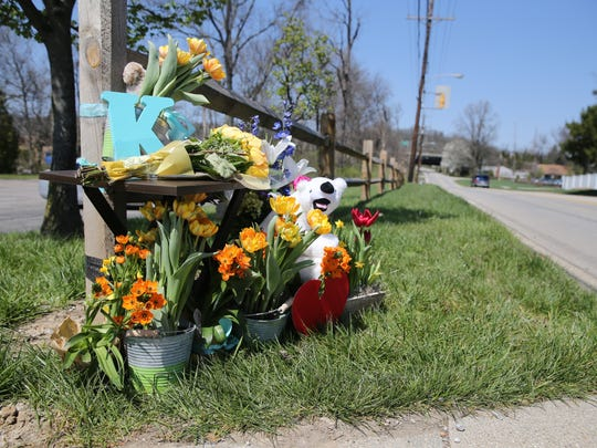 A makeshift memorial to Kyle Plush sits near Seven