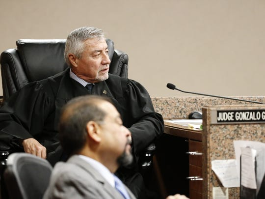 Judge Gonzalo Garcia is shown presiding over the April trial of Hisaias Justo Lopez. The trial was declared a mistrial after a jury was unable to reach a unanimous verdict.