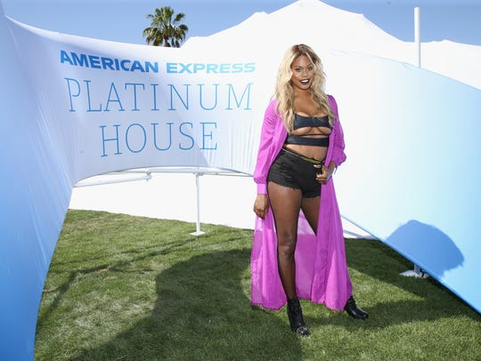 Laverne Cox at the American Express Platinum House at Parker Palm Springs on April 14, 2018 in Palm Springs, Calif.