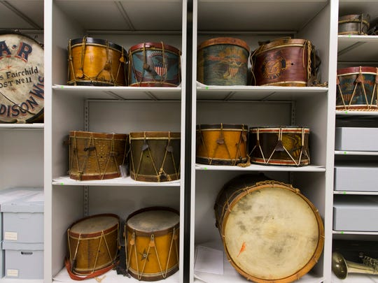 Drums are shown at the Wisconsin Veteran's Museum in