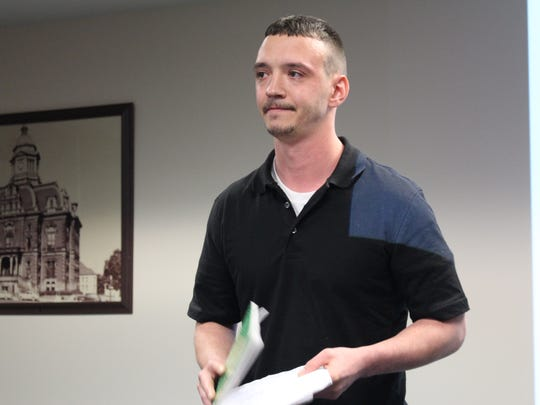 Shelby resident Chase Wilds, 27, shares his story at the Addict's Family and Friends meeting at the Mansfield/Richland County Public Library on Thursday, April 19, 2018. Wilds, who has overdosed twice and was revived with naloxone both times, has been sober for more than a year.