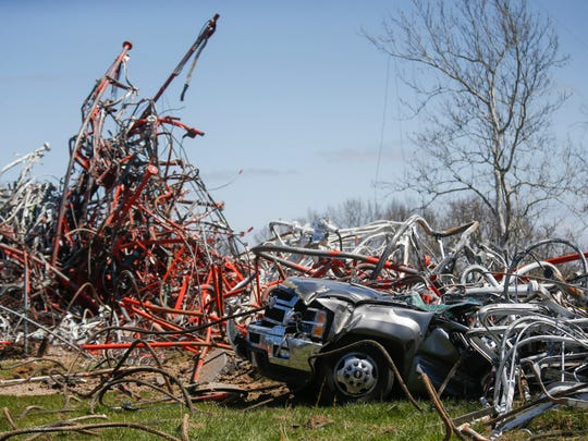 Scenes from a TV tower collapse in Fordland on Thursday, April 19, 2018. One person died and several others were injured.