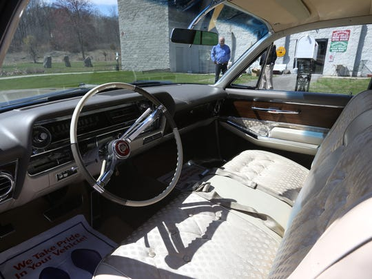 A 1963 Cadillac Fleetwood owned by Americo Cascella of Hermosa Beach, California which was restored by Castle Cadillac Classics and Antiques in Wappingers Falls on April 20, 2018. Cascella inherited the car from his father, and had it restored with the intention of driving it back to California.