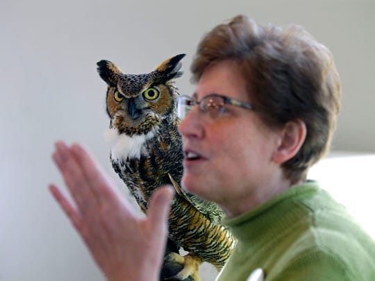 Ann Rosenberg holds Fran, a great horned owl, as she talks with visitors during the Earth Day Festival and grand opening of the new nature center at the Gordon Bubolz Nature Preserve Sunday, April 22, 2018, in Appleton, Wis.