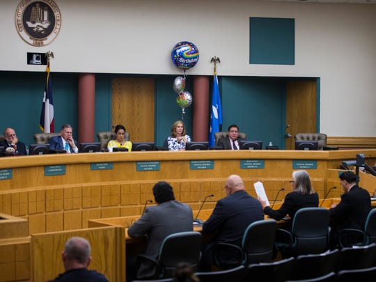 City council members listens to candidates for the District 1 seat of the Corpus Christi city council on Tuesday, April 24, 2018 at city hall.