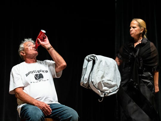 Bob Stabile, left, and Laura Schueneman rehearse a