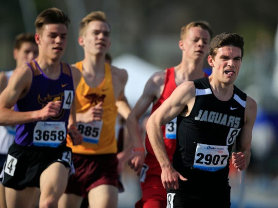 Camden Cox of Ankeny Centennial competes in the Boys 3200 at the Drake Relays Thursday, April 26, 2018.
