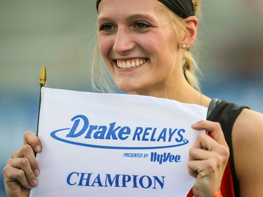 Megan Durbin, Greene County, wins the girls high jump Thursday, April 26, 2018, at the Drake Relays in Des Moines, Iowa.