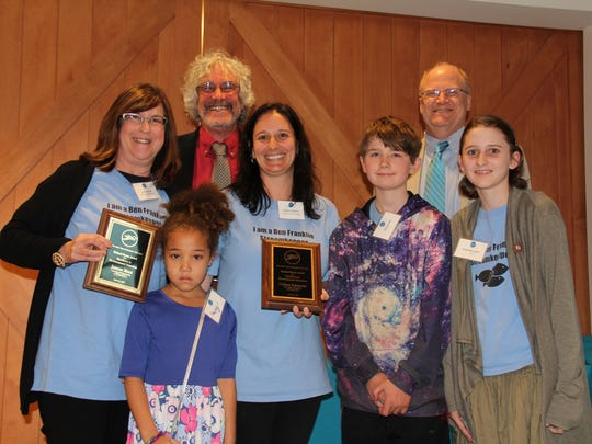 Lawrence Township public school teacher Jean Muzi, student Casey Kitchen, Education Director Jeff Hoagland, teacher Colleen Schantzer, student Samson King, Executive Director Jim Waltman and student Charlotte Lucky. The teachers received the Richard Rotter Award for Excellence in Environmental Education.