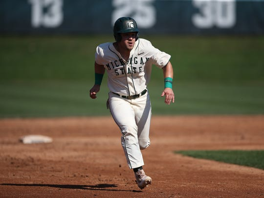 "MSU senior DH Chandler ""Chad"" Roskelly is batting .300"