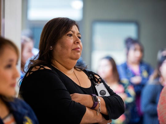 Shirley Esparza, Nueces County Victim Assistance Coordinator, attends a press at the Nueces County Courthouse on Friday, April 27, 2018. A new Domestic Violence Bureau focusing on the problem was announced.