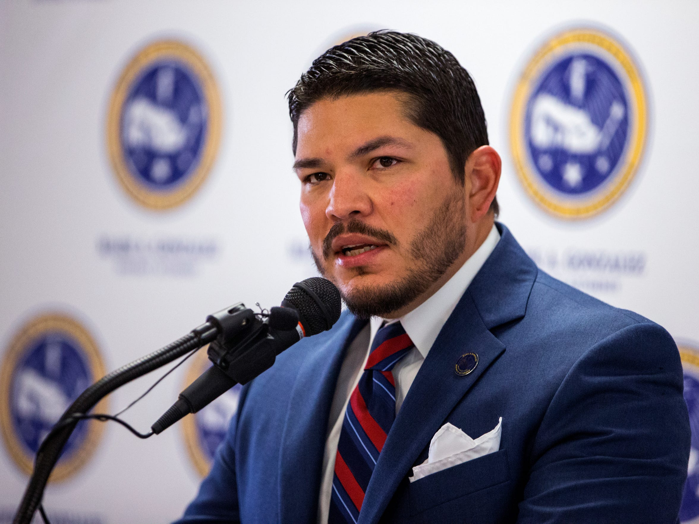"Nueces County District Attorney Mark Gonzalez said his office has ""failed"" in handling domestic violence cases. He also announced a new bureau to handle the cases during a press conference at the Nueces County Courthouse on Friday, April 27, 2018."