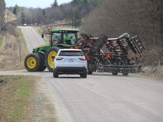 It can turn into a dangerous situation when a farmer is attempting to make a left-hand turn.