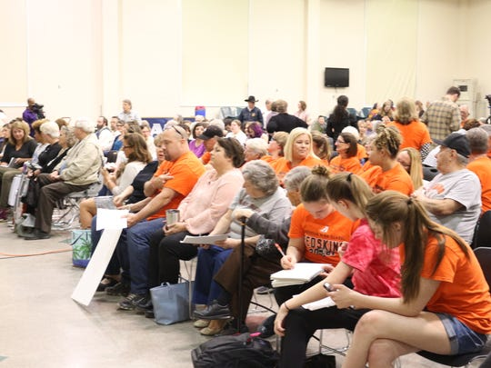 There was a crowd on hand at the April 30 committee meeting about changing the Anderson High School Redskins name. Both sides of the debate brought their supporters to Nagel Middle School.