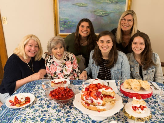 Karen Rondinelli (left) is shown with her mother, Kay Ulschmid, and (left to right) nieces Jane Hudson and Ellen Ulschmid, sister Patrice Hudson and daughter Natalie Rondinelli. Ulschmid's children have carried on the strawberry shortcake tradition in their own families.