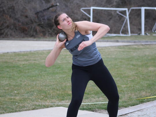 Steph Kostowicz uncorks a shot put at an event in April