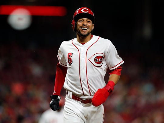 Cincinnati Reds center fielder Billy Hamilton (6) laughs